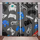 Manfei Gamepad Window Treatment Video Game Controller Decor Window Curtain Gamer Theme Window Drapes for Bedroom Living Room