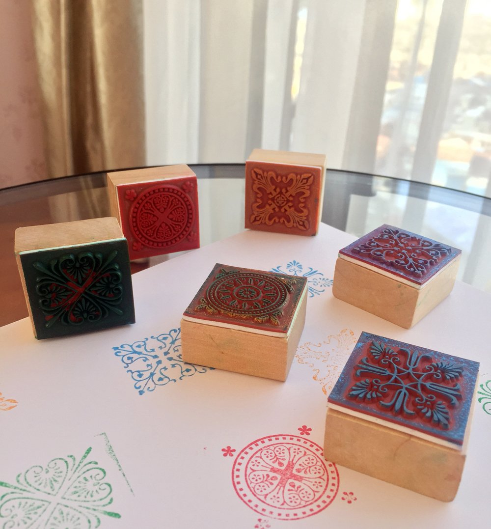 Wooden Rubber Stamp Square Floral Pattern For DIY Craft Card and Scrapbooking Designs