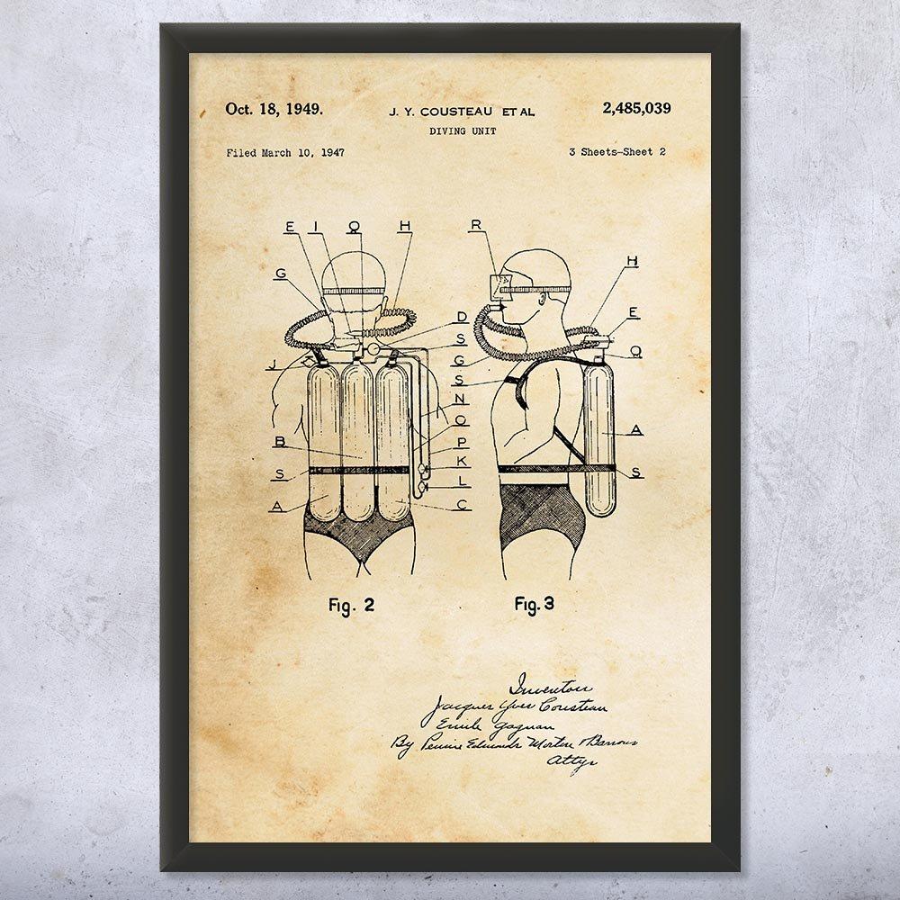 Framed Scuba Diving System Print, Jacques Cousteau, Dive Shop Art, Scuba Decor, Scuba Diver Gift, Scuba Instructor Vintage Paper (9'' x 12'') by Patent Earth