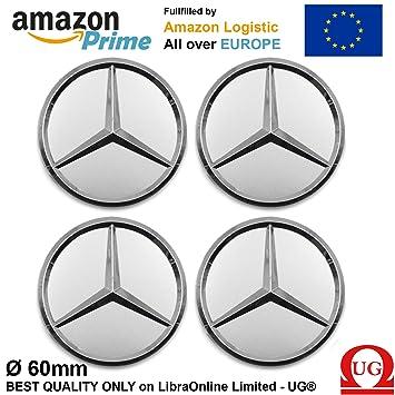 LIBRA 4 x tapones Tapacubos Plateado Logo Mercedes de 60 mm - Clase A B C E CLK GL M ML SLK - para tachuelas Círculos Aleación: Amazon.es: Coche y moto