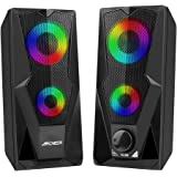 Computer Speakers ARCHEER 10W Gaming RGB PC Speaker with Colorful Led Light 2.0 USB Powered Stereo Bass Volume Control, 3.5mm