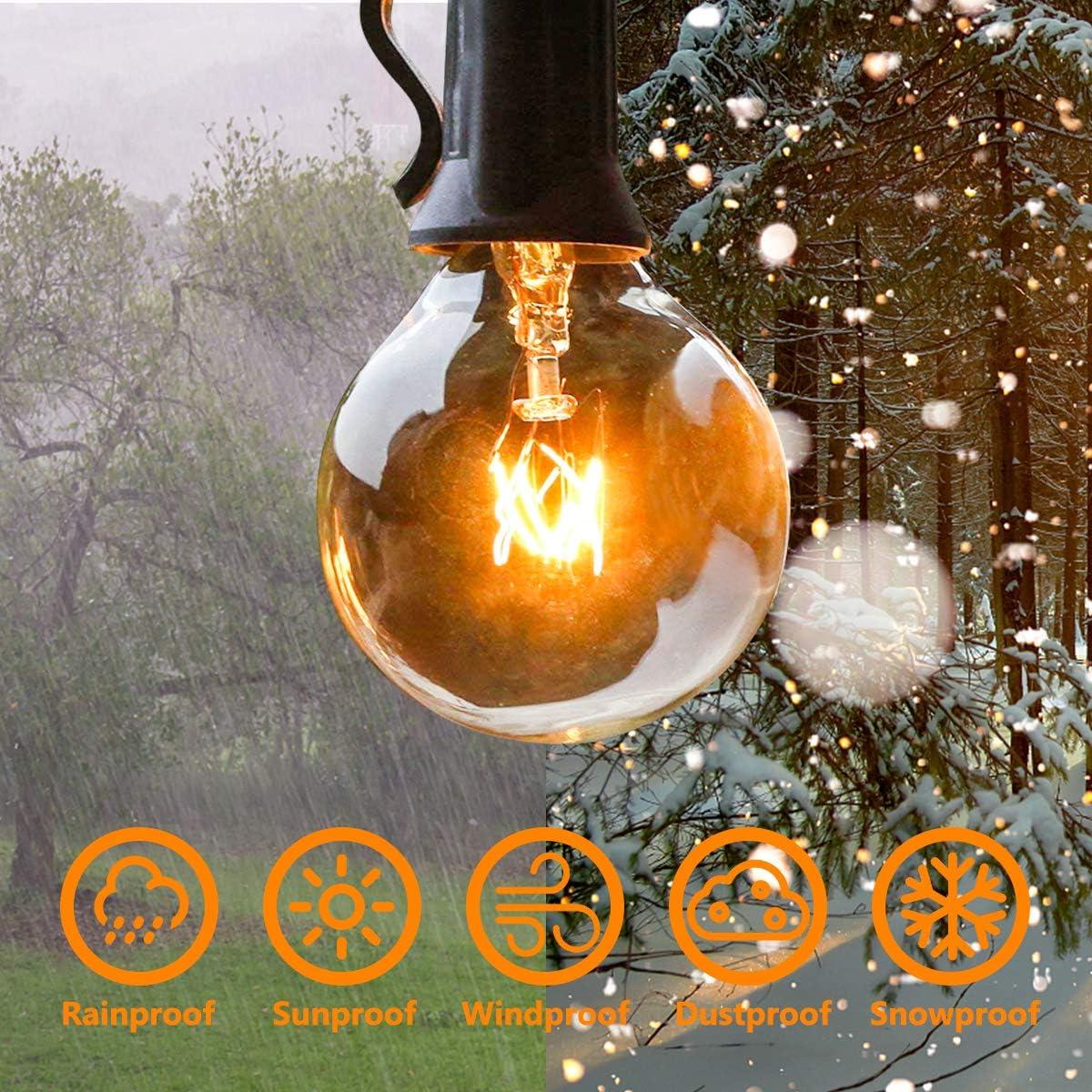 Cadena Luces Decoracion para Habitaci/ón Bodas Balc/ón Guirnalda Luces Exterior Jard/ín Terraza C/ésped QXMCOV 9.5M Guirnaldas Luminosas de Exterior y Interior 25 G40 con 3 Bombillas de Repuesto