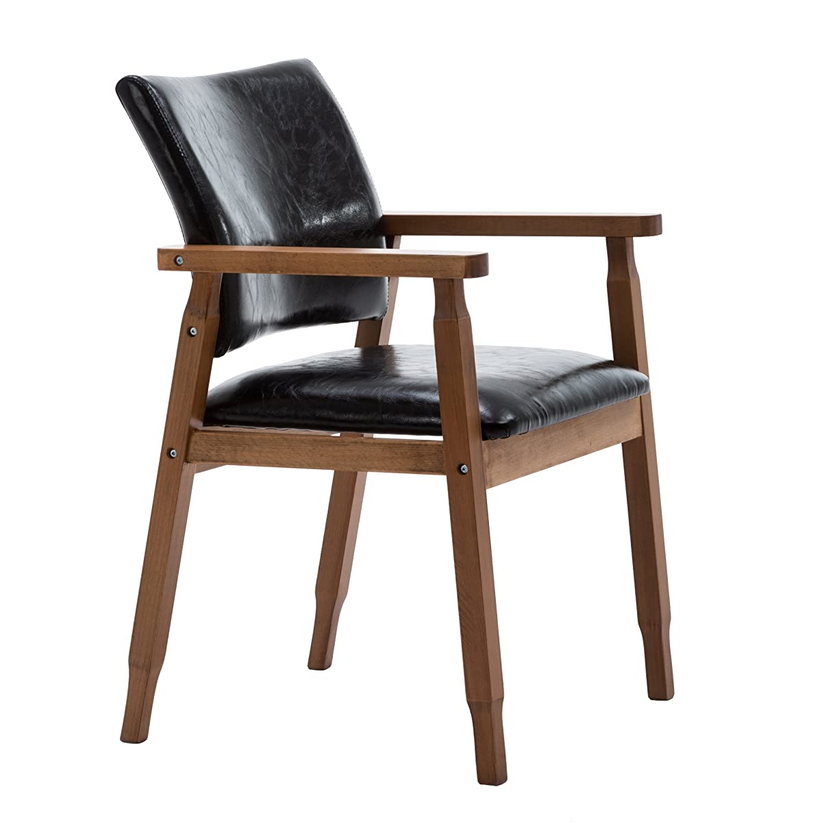 NOBPEINT Mid-Century Dining Side Chair with Faux Leather Seat in Black, Arm Chair in Walnut,Set of 2