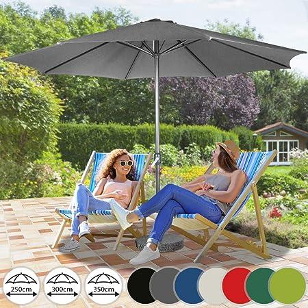 Sombrilla de Terraza | de Diámetros Ø 250 / 300 / 350 cm, Protección Solar UV30+, Mástil de