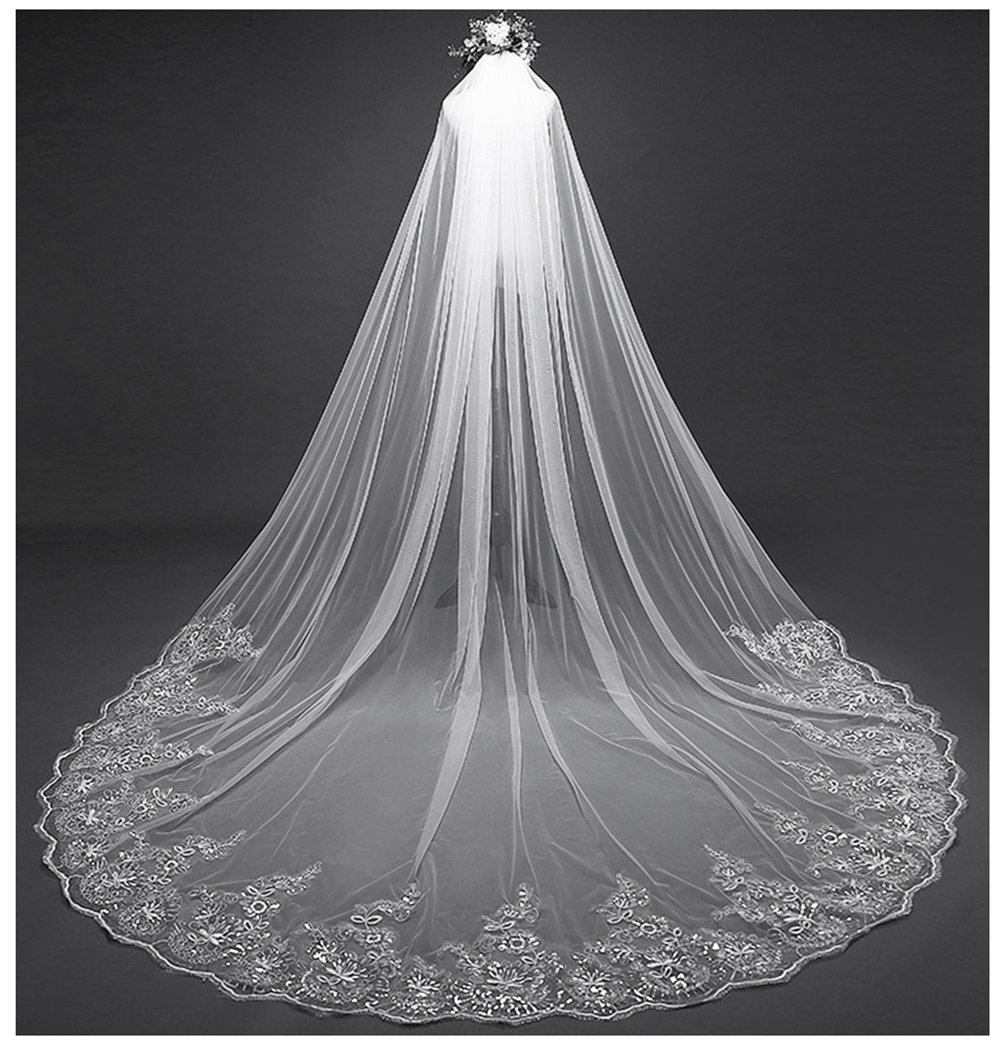 AIBIYI Vintage Long Veil Sequins Lace (300cm) Cathedral Bridal Veil with Comb ABY-V42