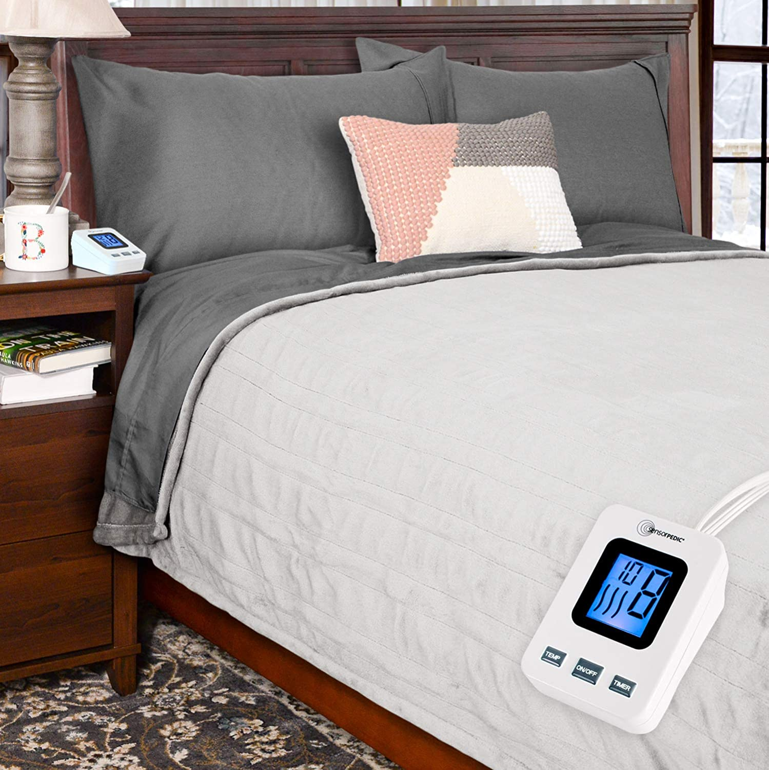 Simple Comfort Electric Heated Flannel Fleece Blanket with Sensor-Safe Overheat Technology – New for 2018 HIGH TEC Digital Controller (Ivory, Full w/Single Controller)