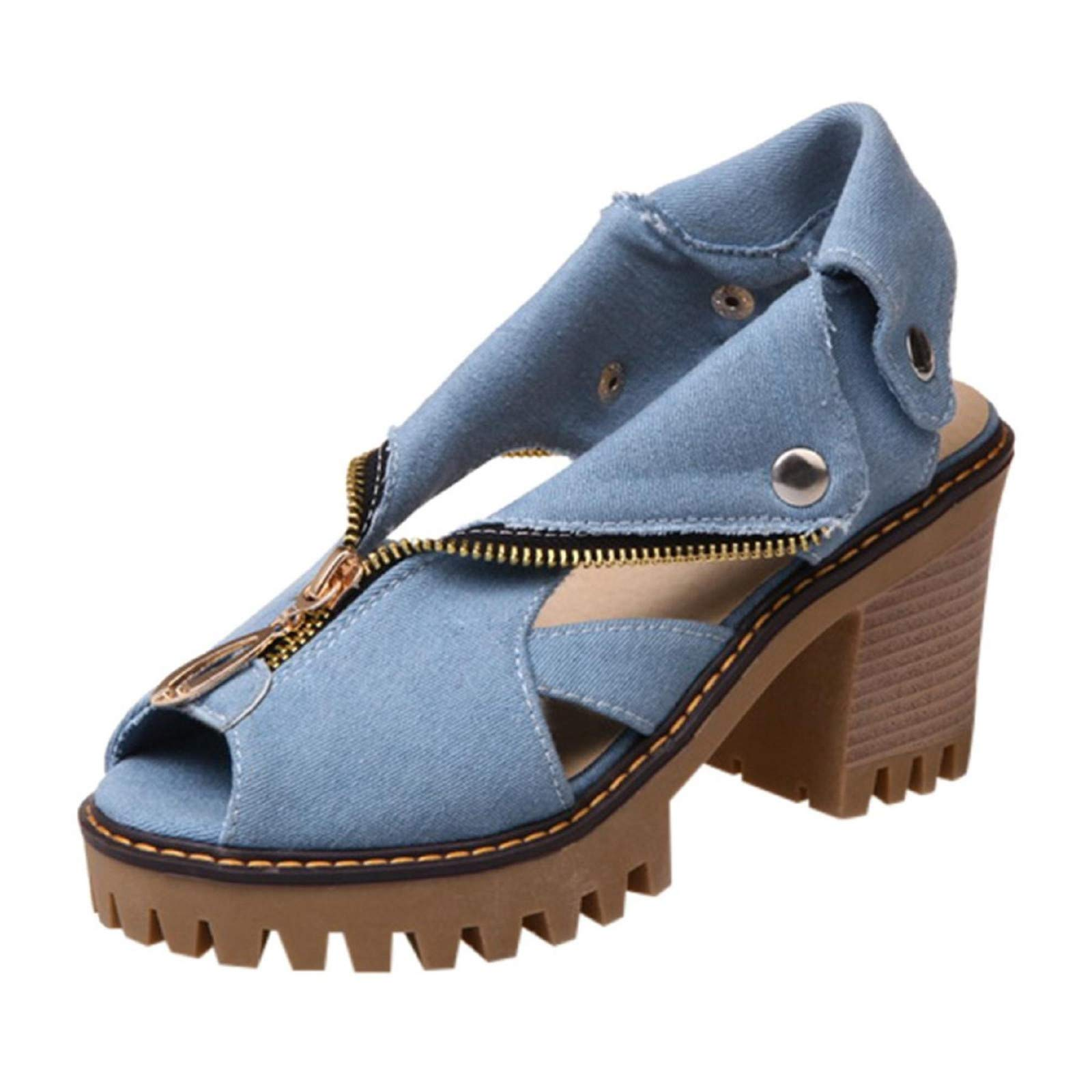 Womens Peep Toe Mules Platform Block Chunky Heeled Sandals Roll up Cuff Denim Sandals with Button