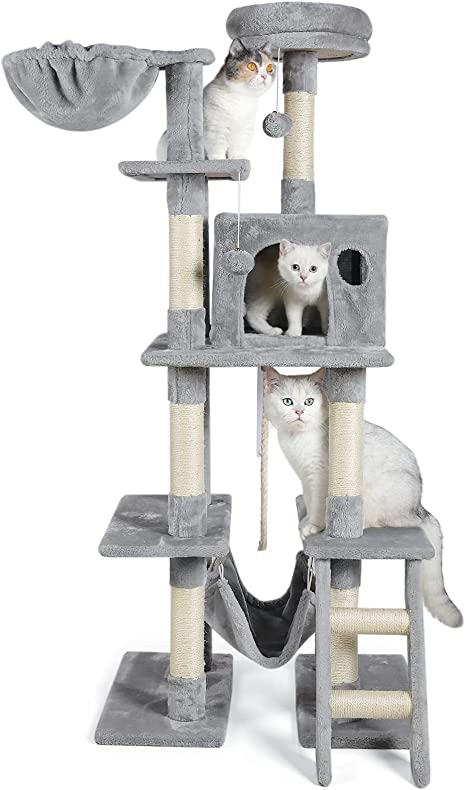 Amazon Com Dooradar 61 In Cat Tree Tower With Condo For Indoor Cats Multi Level Cat Furniture With Scratching Posts Large Perch Hammock Kittens Climbing Stand House Pet Activity Center Kitchen Dining