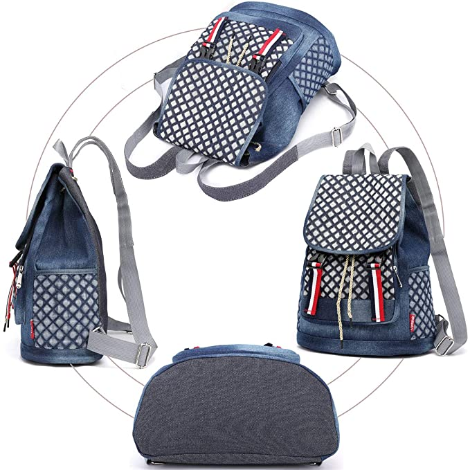 Amazon.com: Denim Mochila escolar para adolescentes, niñas ...