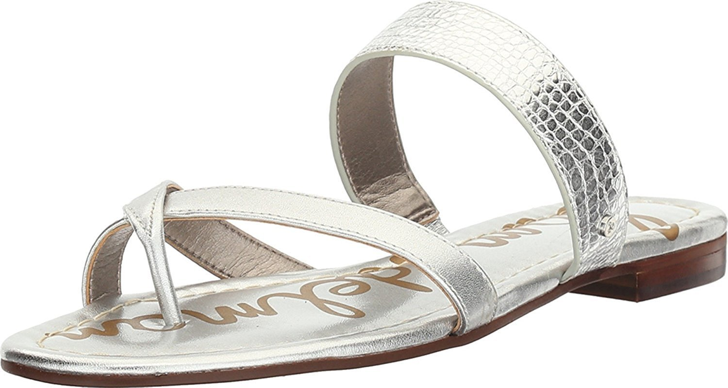 Sam Edelman Women's Bernice Slide Sandal B01M8QL5KV 6 B(M) US|Soft Silver Mini Croco Metallic/Polished Metallic Leather