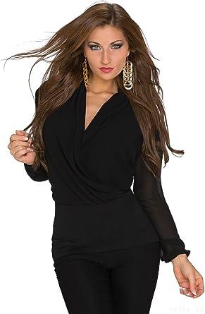 Elegante Damen Bluse langarm Shirt mit Transparenten Rücken und Ärmeln  Einheitsgröße S M 34, 8d41b57d83