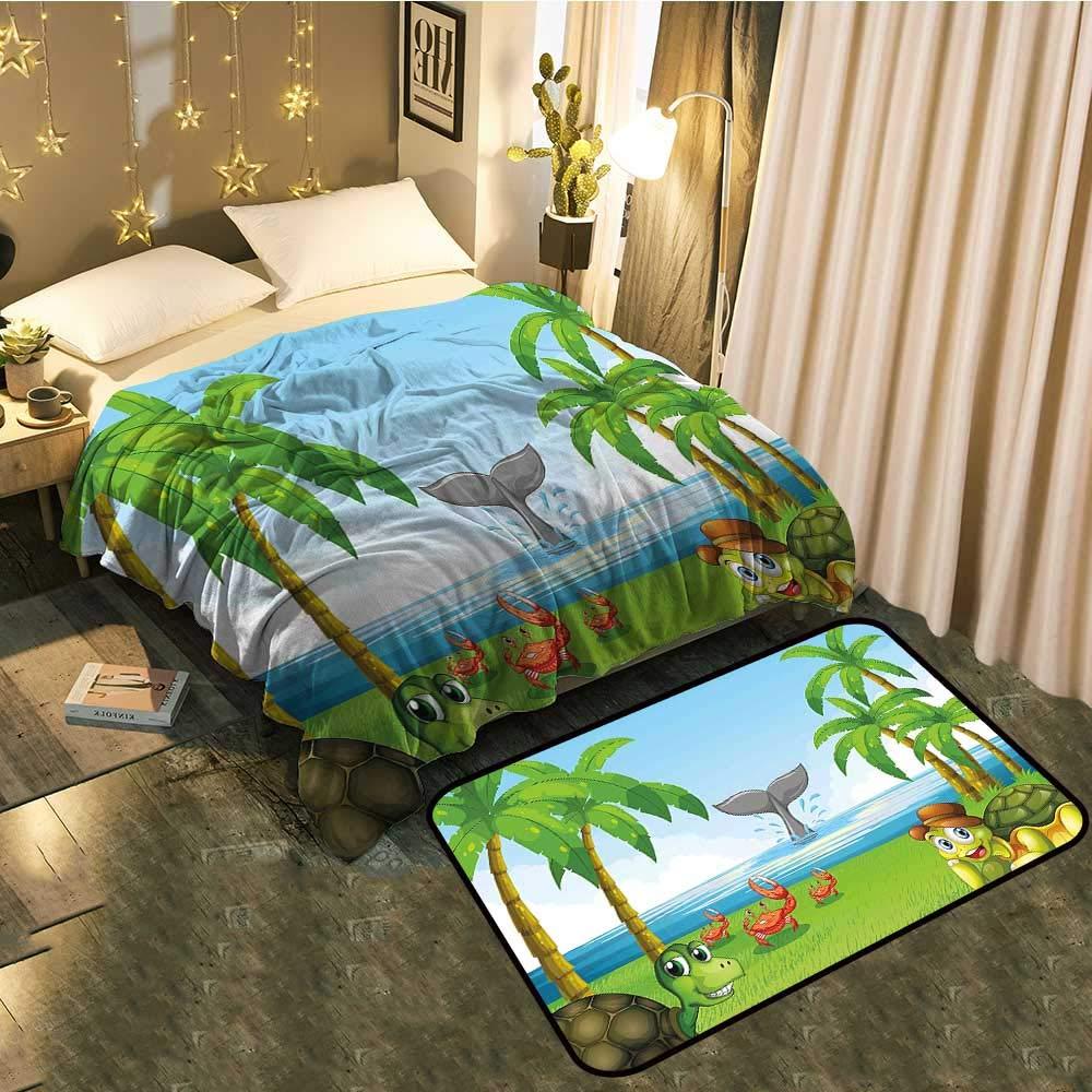color01 Blanket 35 x60  Mat 21 x11  Bedside Blanket Doormat suitCute Moles in The Garden Digging The Flower Field Animal Baby Cartoon Print Cozy and Durable Blanket 60 x78  Mat 5'X8'