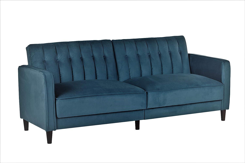 Container Furniture Direct Sb 9030 Anastasia Mid Century Modern Velvet Tufted Convertible Sleeper Sofa 81 Teal Blue Amazon Ca Home Kitchen