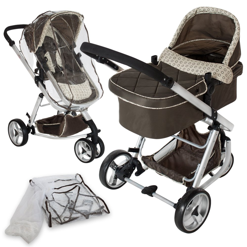 TecTake 3 in 1 Pushchair stroller combi stroller buggy baby jogger travel buggy kid's stroller -different colours- (Grey) 800042