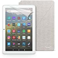 Fire HD 8 tablet, 32 GB, White + Amazon Fire HD 8 Cover, Sandstorm White + NuPro Screen Protector, 2-pack