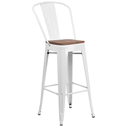 Superb Taylor Logan 30 High White Metal Barstool With Back And Wood Seat Short Links Chair Design For Home Short Linksinfo