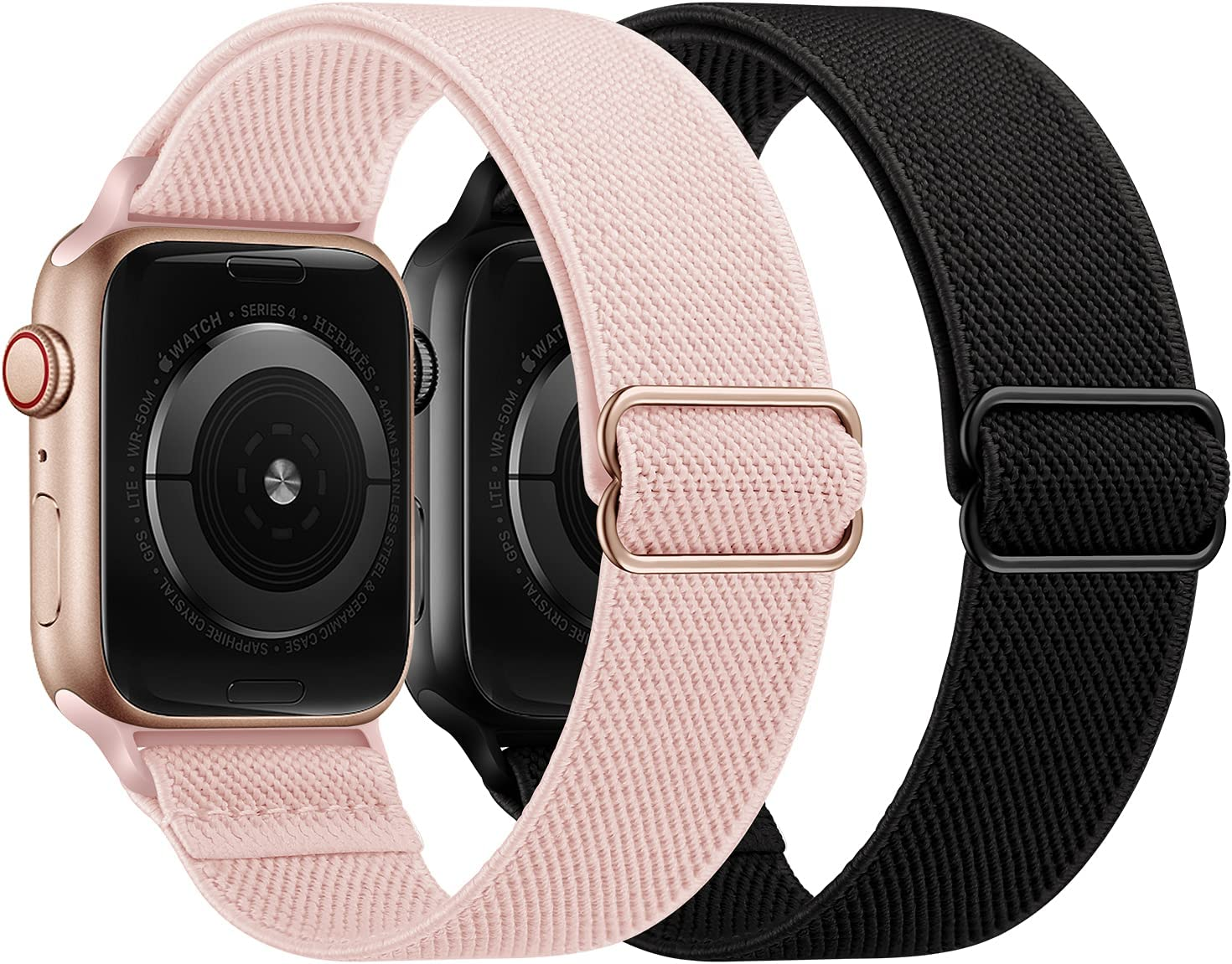 OUHENG 2 Pack Stretchy Band Compatible with Apple Watch Bands 40mm 38mm 44mm 42mm, Elastic Braided Nylon Sport Stretch Solo Loop Strap for iWatch SE Series 6/5/4/3/2/1, Pink Sand/Black, 40/38mm