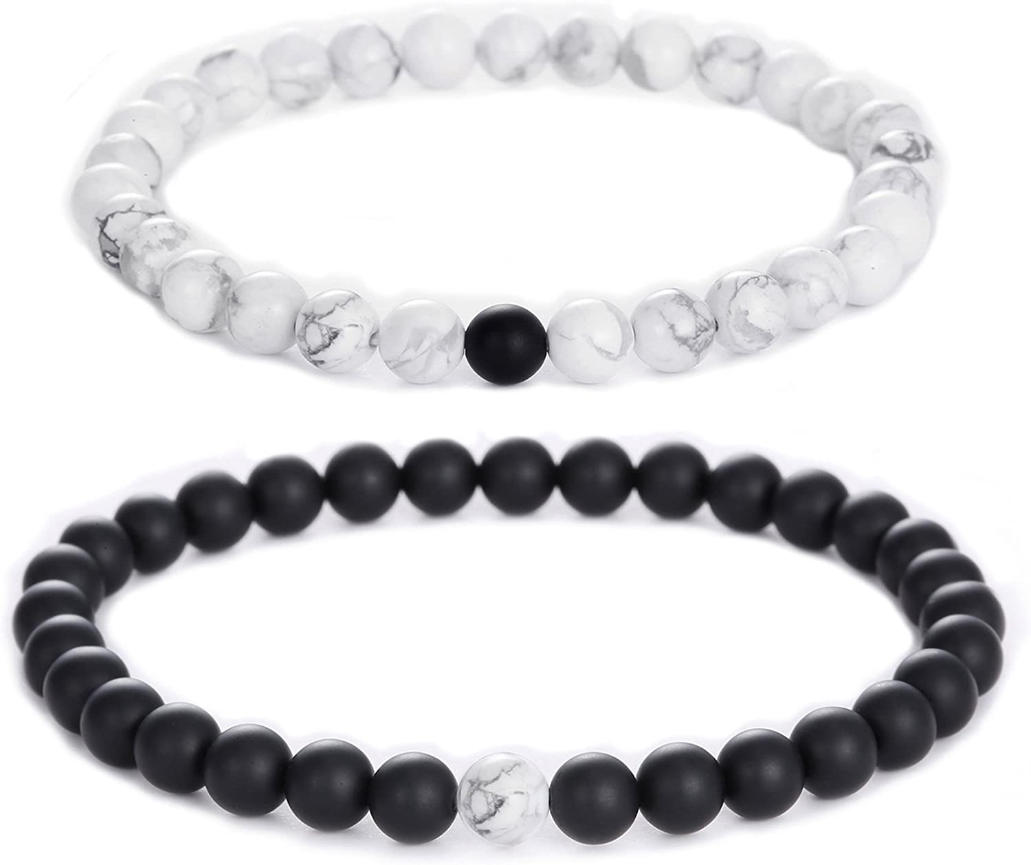 Jade cabbage Distance Relationship 6mm Black Matte Agate & White Howlite Stone Beads Bracelet for Couple Jewelry