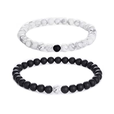 Jade cabbage Distance Relationship Bracelets for Couple,2pcs Black Matte  Agate \u0026 White Howlite 6mm
