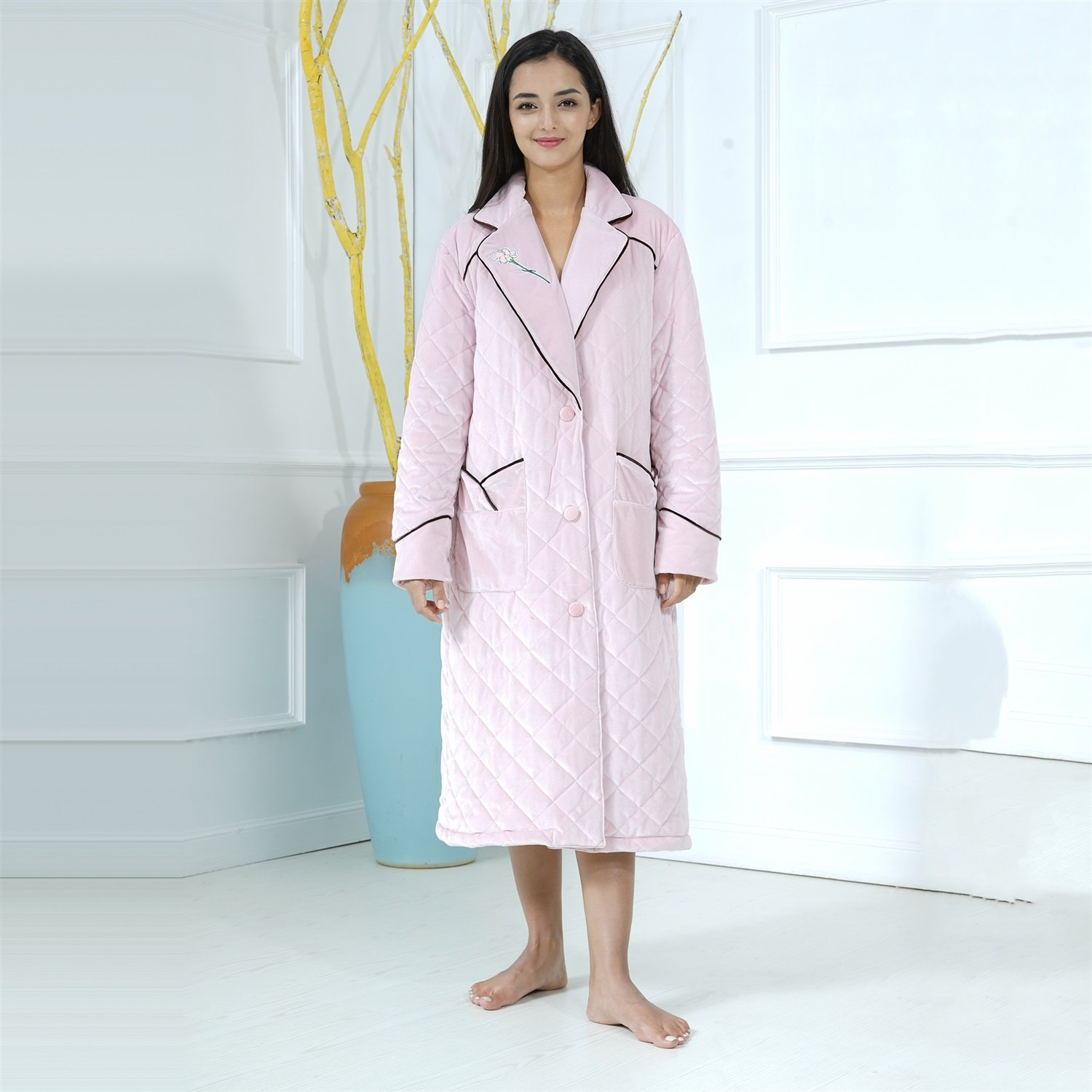 Bathrobe Ladies Nightgown Knitted Cotton Super Soft Thick Bath Robe Two Front Pockets Nightgown Gym Shower Spa Hotel Pink Robe Holiday Present ( Size : XL )