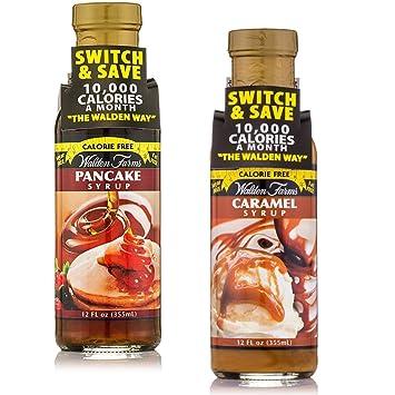 Walden Farms libre de calorías Arce Sirup Maple Sauce & Caramel Syrup de 2 Pack (
