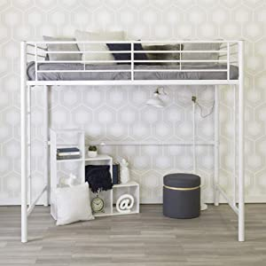 WE Furniture Modern Metal Pipe Full Double Size Loft bed