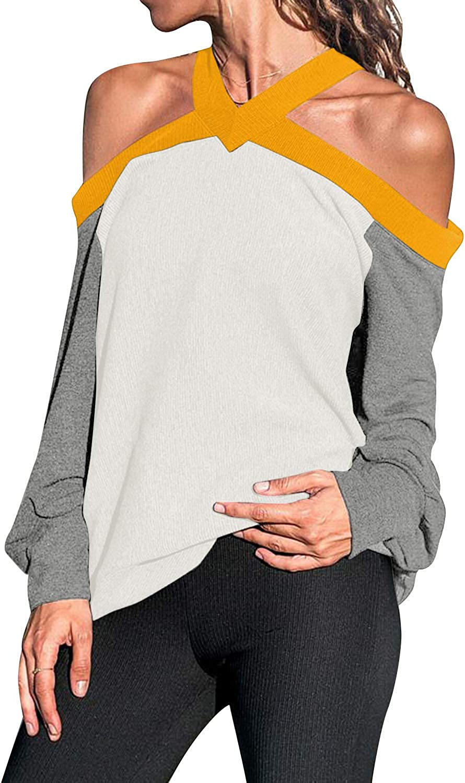 kenoce - Camiseta de verano para mujer con hombros descubiertos y manga corta, talla grande, cuello alto, cuello barco, blusa de primavera casual