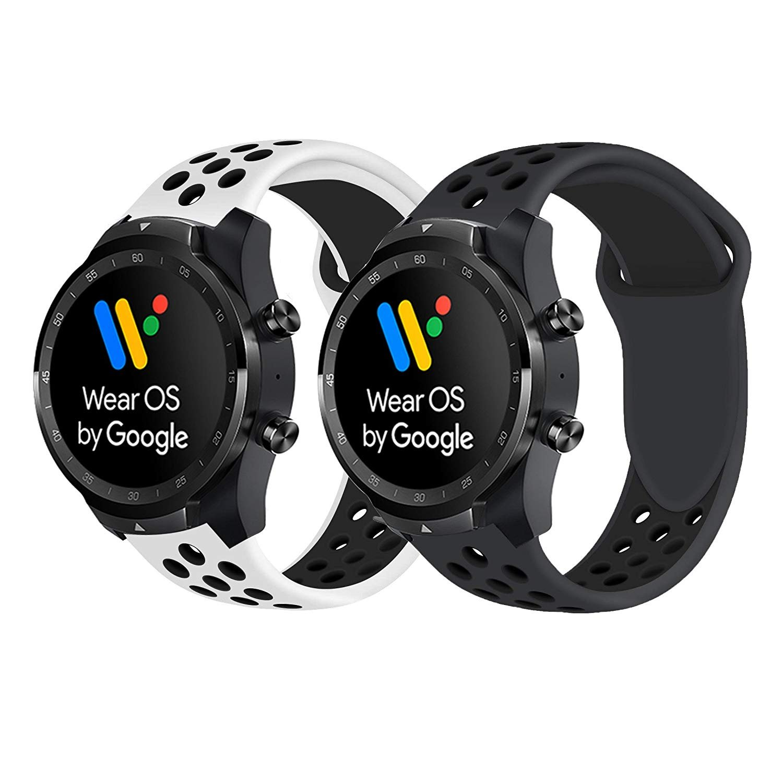 Ceston Deporte Silicona Clásico Correas para Smartwatch TicWatch Pro (Rojo + Negro)