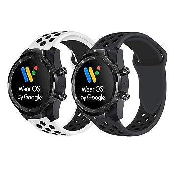 Ceston Deporte Silicona Clásico Correas para Smartwatch TicWatch Pro (Blanco + Negro & Todo Negro)