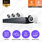 Samsung Wisenet SDH-B84040BF 8 Channel 4 MP Super HD DVR Video Security System 4 Weather Resistant Bullet Camera (SDC-89440BC) with 1TB Hard Drive (Certified Refurbished)
