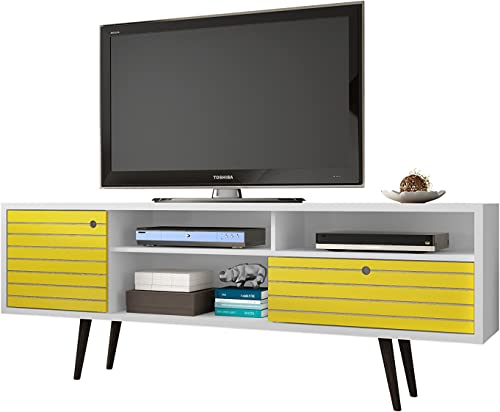 Manhattan Comfort Liberty Collection Mid Century Modern TV Stand With Three Shelves, One Cabinet and One Drawer With Splayed Legs, Yellow White