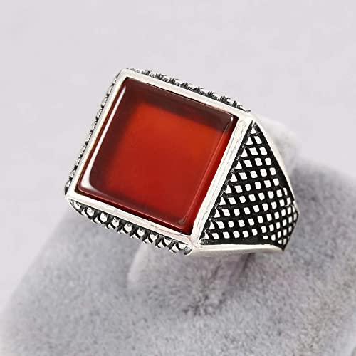 34fb5db1c6a4a Amazon.com: Mens Rings in 925 Sterling Silver, Square Red Agate ...