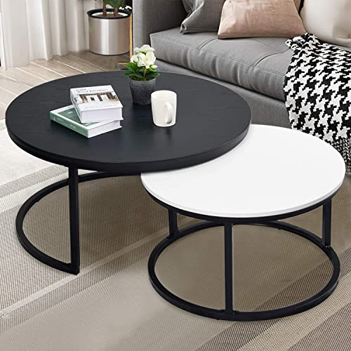 Nathan James Paloma Round Coffee Tea or Cocktail with Raised Tray Top Edge Tables, 2-Tier Minimalist Style Living Room, Dark Oak Matte Black
