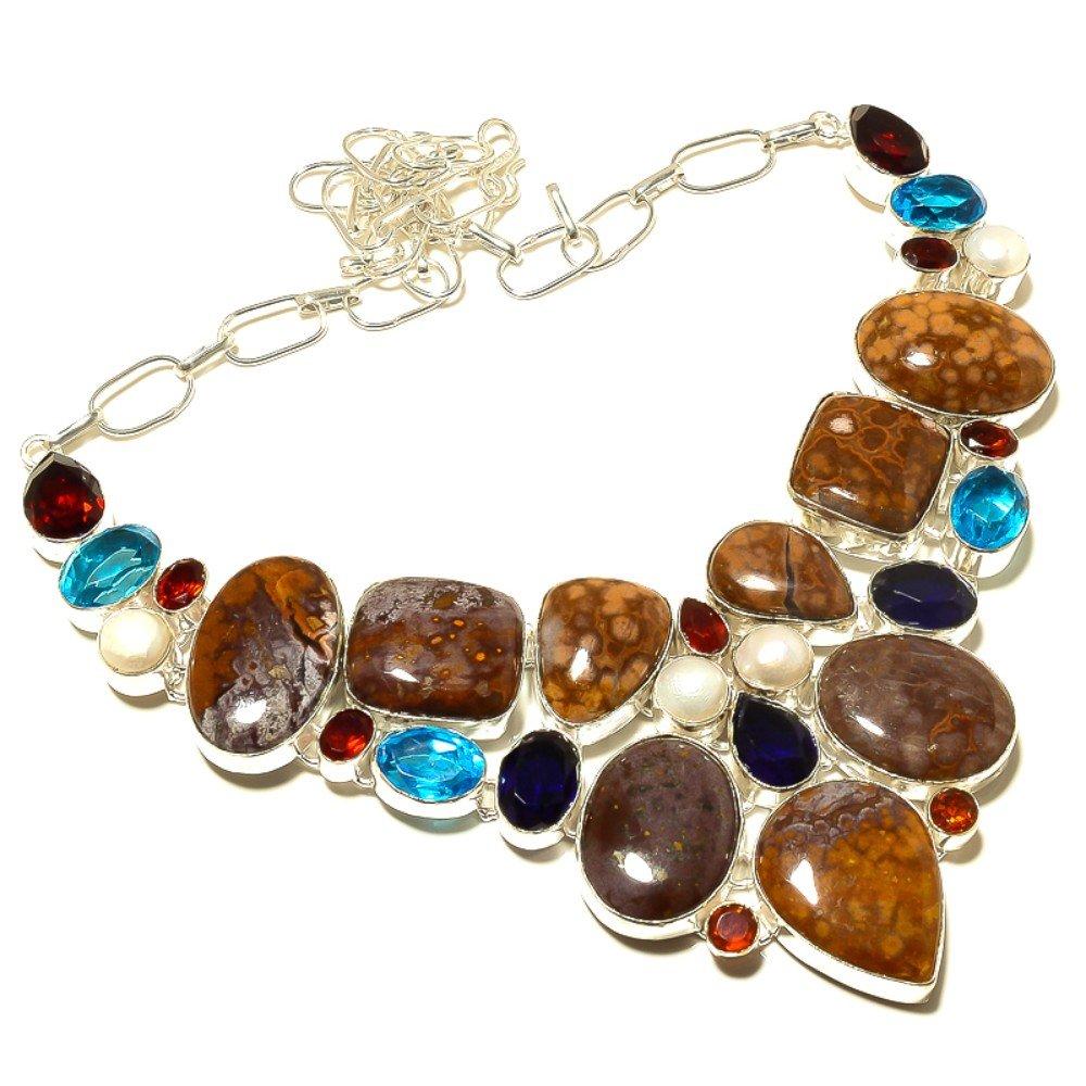 Stunning Snake Skin Jasper Multi-Stone Silver Overlay 129 Gram Necklace 17-18 Blue Topaz Quartz