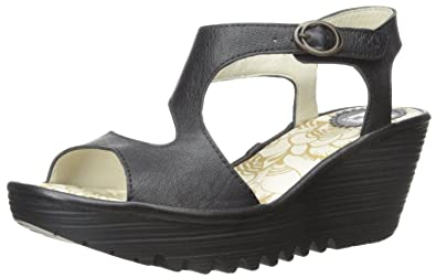 7460ae157065 Fly London Yanca Black Womens Leather Wedge Sandals Shoes-38  Amazon ...