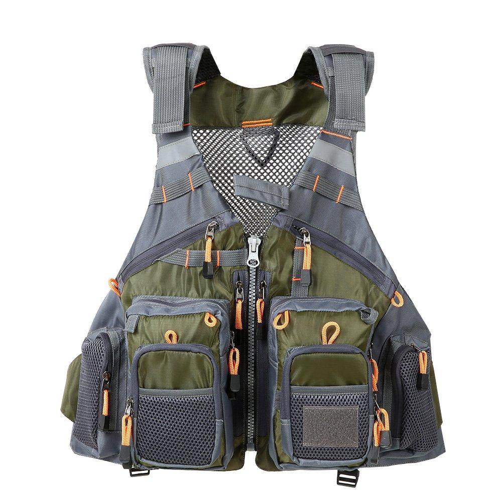 Lixada Fly Fishing Vest,Fishing Safety Life Jacket Breathable Polyester + EPE Foam/Mesh Design Fishing Vest for Swimming Sailing Boating Kayak Floating (Mesh-Green)
