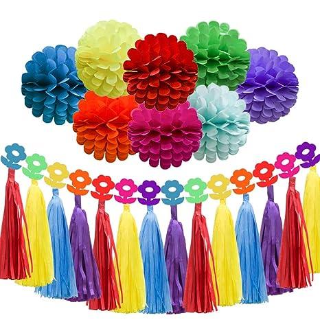 Decoración de fiesta de cumpleaños arcoíris, brillantes y ...