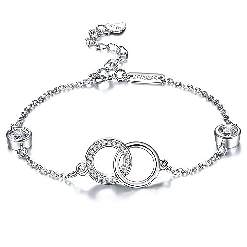 0f9703a3530f J. Endear pulsera plata 925 Mujer Süße Romantik doble anillo con zirkoni 19  cm Ajustable  Amazon.es  Joyería