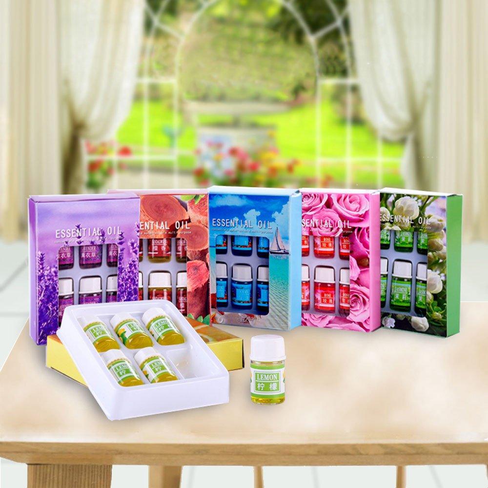 Jinjin Aromatherapy Essential Oils ,6 Flavor 3ML/Box Pure Essential Oil Skin Care Bath Massage Beauty (A)