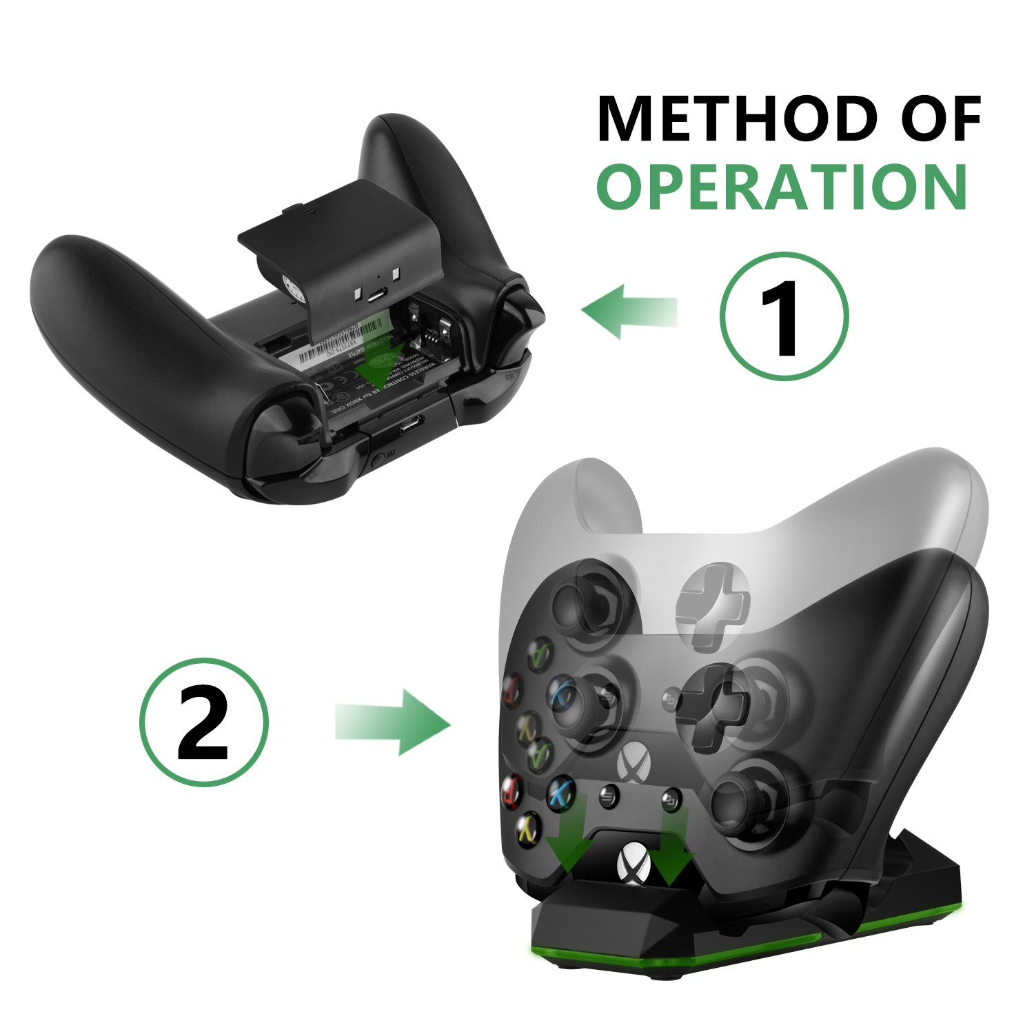 Amazon.com: Xbox One X Controller Charger, YockTec Dual ...