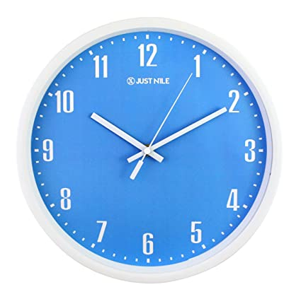 44315735feb JustNile 12 Inch Silent Decorative Contemporary Blue Battery Operated Wall  Clock