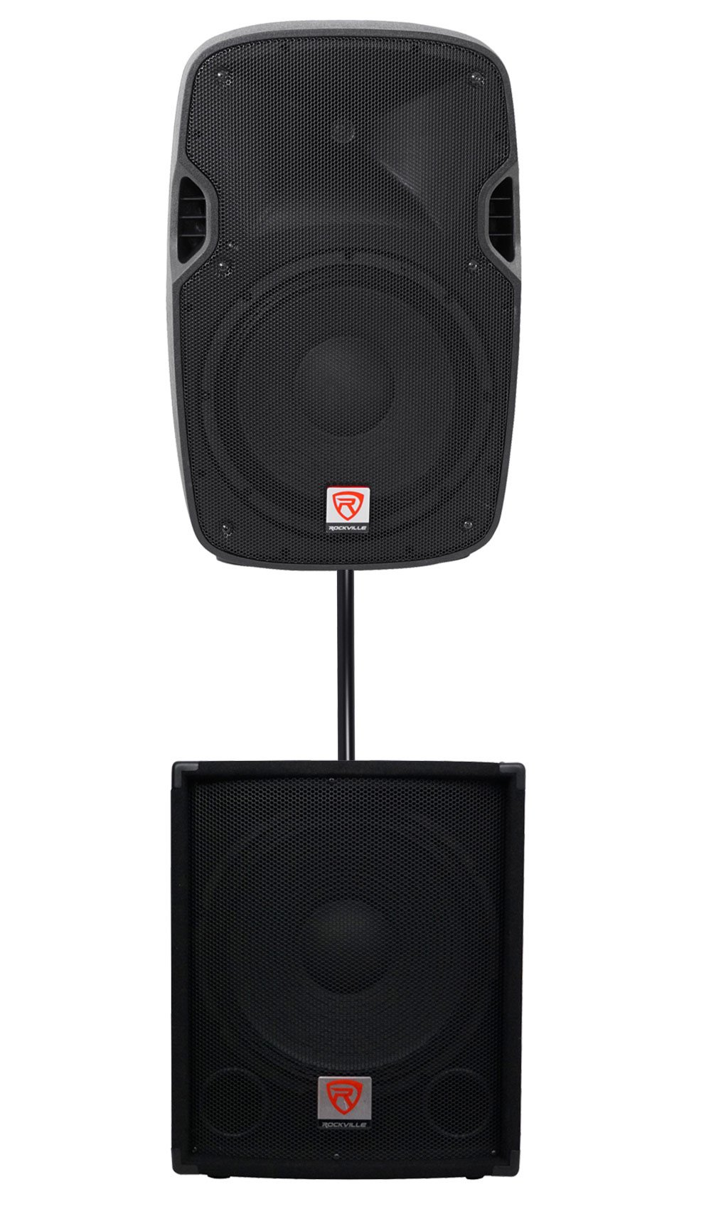 Package: Rockville SPGN128 12'' Passive 1200 Watt Peak 8-Ohm Lightweight DJ/PA Speaker + Rockville SBG1154 15'' 700 Watt Passive Pro DJ Subwoofer + Rockville RSP36 36'' Subwoofer Mounting Pole by Rockville