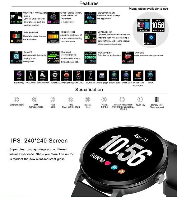 NBWE de Moda V11 Smartwatch en Tiempo Real Ritmo cardíaco presión ...