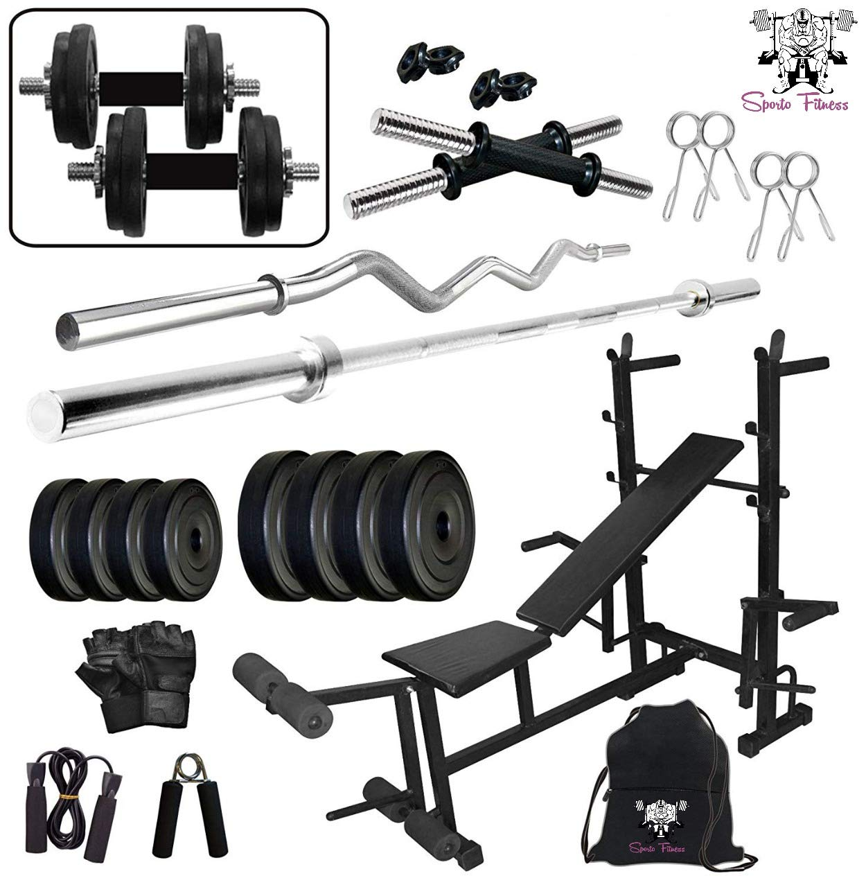 SPORTO FITNESS 80 Kg Home Gym Equipments with 8 in 1 Multi Purpose Gym  Bench : Amazon.in: Sports, Fitness & Outdoors