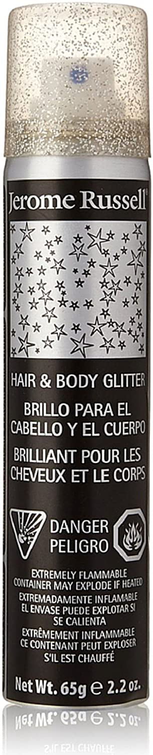 Jerome Russell Hair & Body Glitter Spray, Silver 2.2 oz (Pack of 3) J RUSSELL