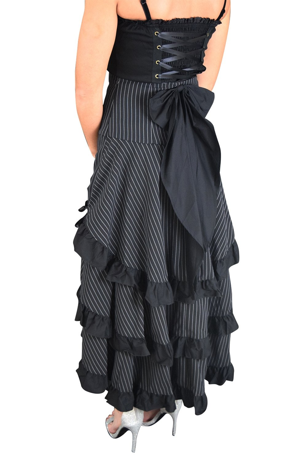 Gothic Victorian Steampunk Black Pinstriped Tiered Tail Long Stripe Bustle Skirt (14 (EU46))