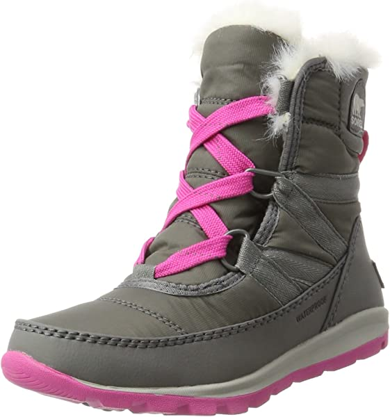 449a686b28 Sorel Girls' Youth Whitney Short Lace Snow Boots, Black (Quarry/Pink Ice