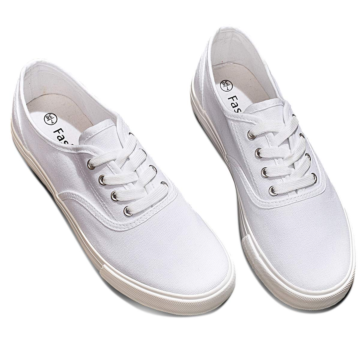ZGR Women's Canvas Shoes Fashion Low Cut Loafer Sneakers (us8, White)