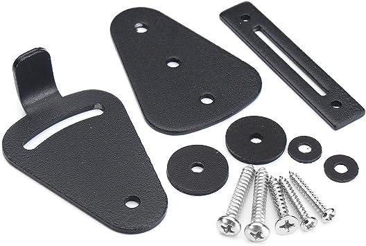 Cierre de puerta corredera de acero al carbono con recubrimiento de polvo negro para puertas correderas de granero o puertas de madera: Amazon.es: Bricolaje y herramientas