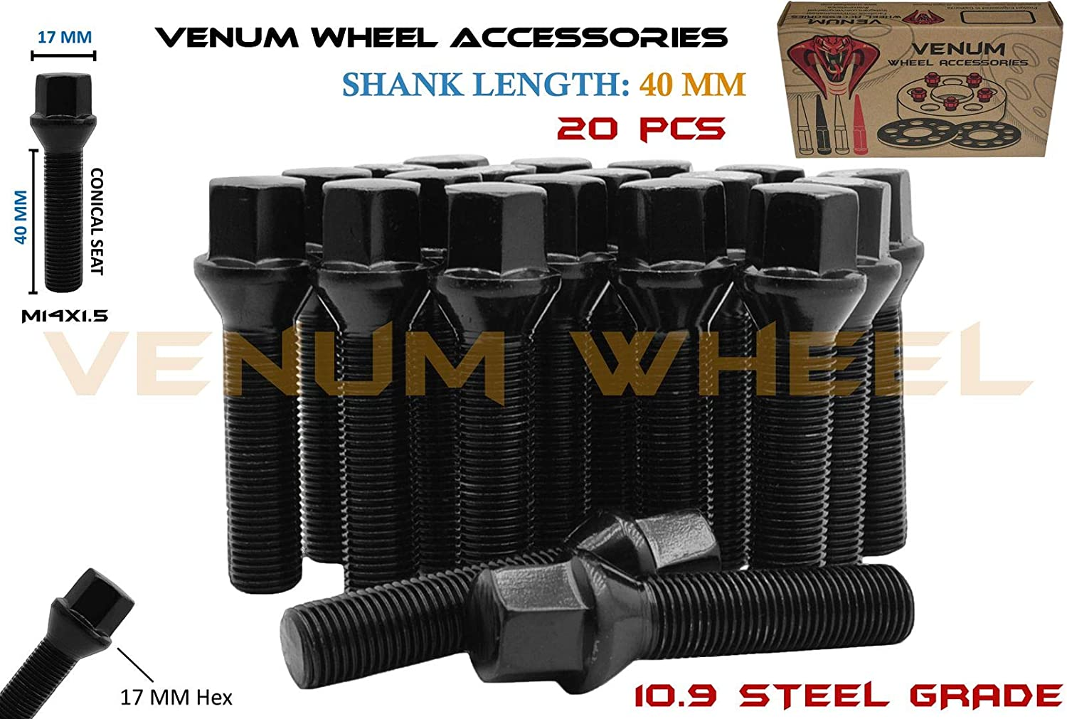 Complete Set of 20 Pc Conical Seat Lug Bolts 55 mm Extended Shank Length Black Powder Coated Finish M14x1.5 Works With Volkswagen Audi BMW Mercedes Benz Porsche Vehicle W// Aftermarket Wheels